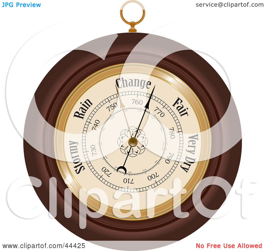 Clipart Illustration of a Round Wooden Aneroid Barometer by Frisko.
