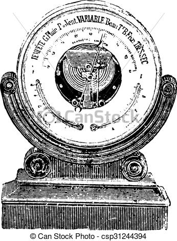 EPS Vectors of Aneroid barometer, vintage engraving..