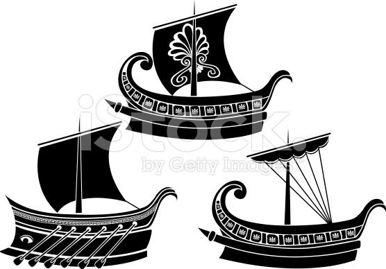 Ancient Greek ship set stencil second variant.