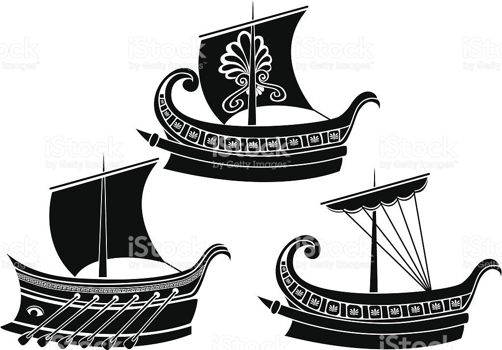 Ancient Greek ship set stencil second variant in 2019.