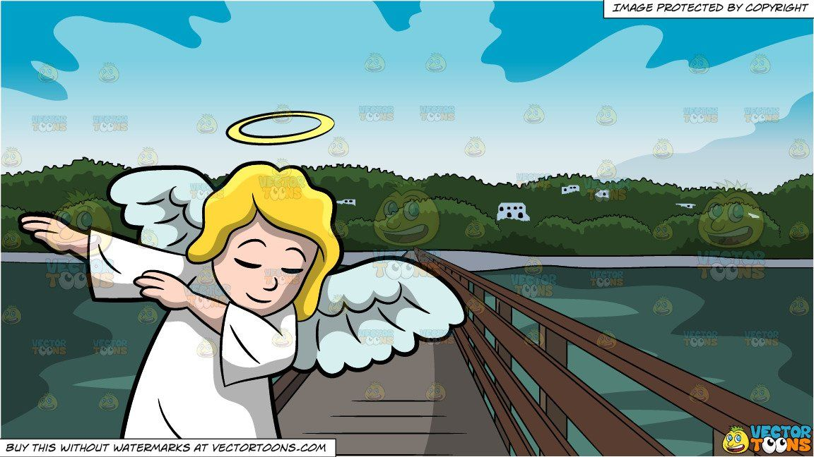 clipart #cartoon A Dabbing Angel and Bridge Leading To An.
