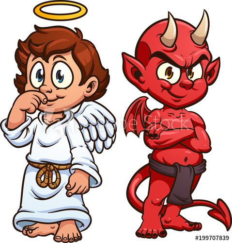 Cartoon angel and devil. Vector clip art illustration with.