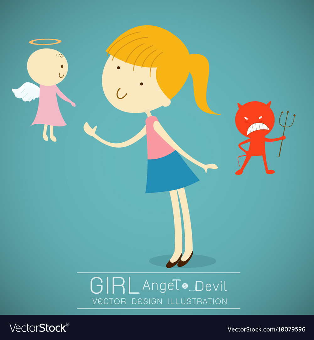 Girl with cute angel and red devil.