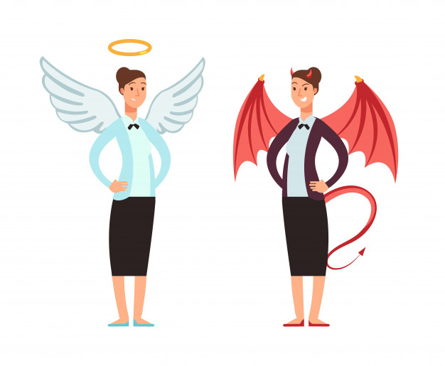 Businesswoman in angel and devil suit. good and bad woman.