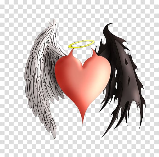 Winged heart illustration, Devil Angel Heart Demon Tattoo.