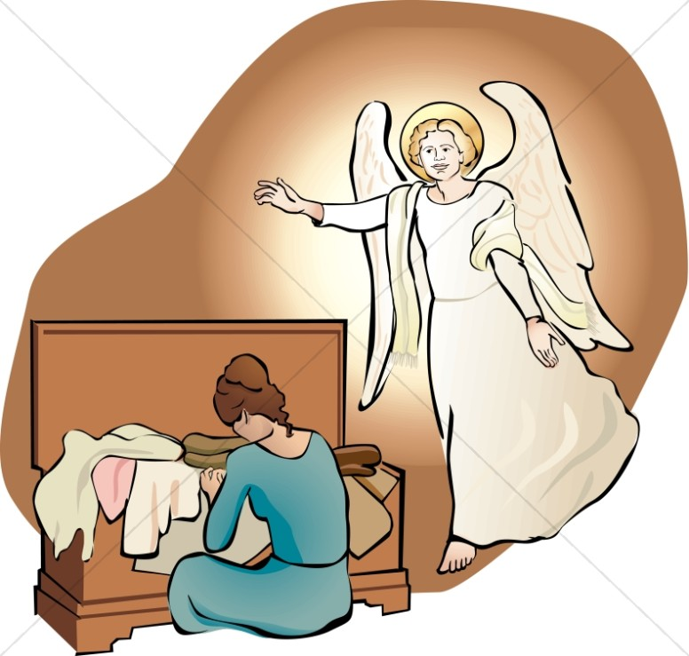 An Angel Visits Mary with her Trousseau.
