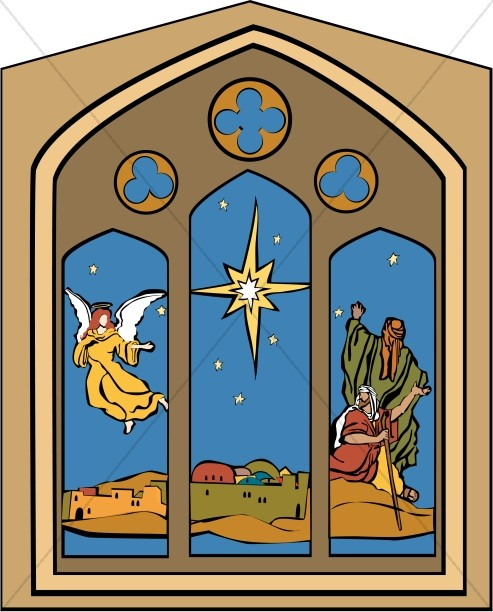 Nativity Window with Star, Angel and Shepherds.