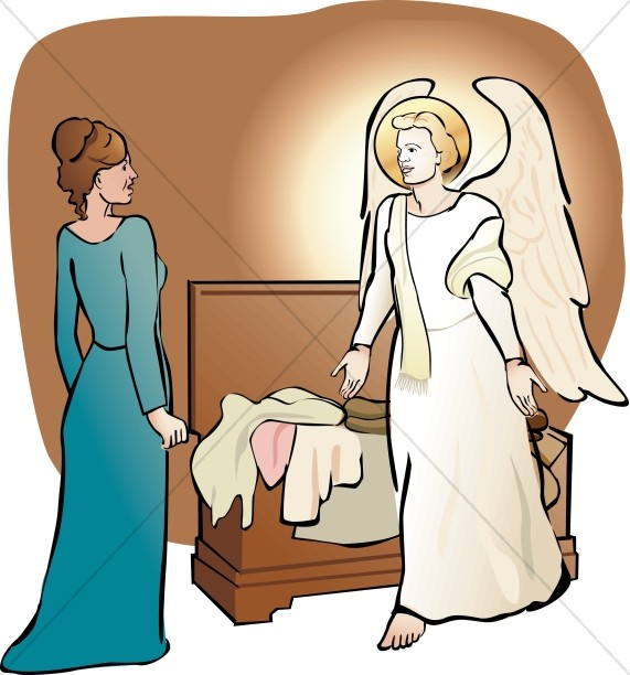 Angel Gabriel Visits Mary Clipart.