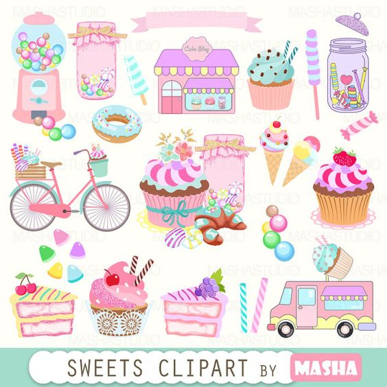Bakery clipart: SWEETS CLIPART with cupcake clipart by MashaStudio.
