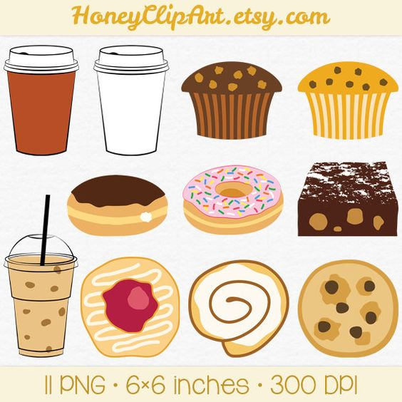 Cafe Clip Art, Digital Food Clipart, Bakery Clip Art, Iced Coffee.
