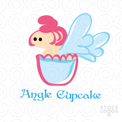 Exclusive Customizable Logo For Sale: Angel Cupcake.