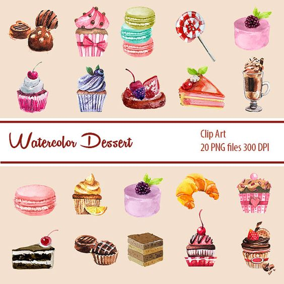 Watercolor Cupcake Clipart, Chocolate CLIPART, Valentine Digital.