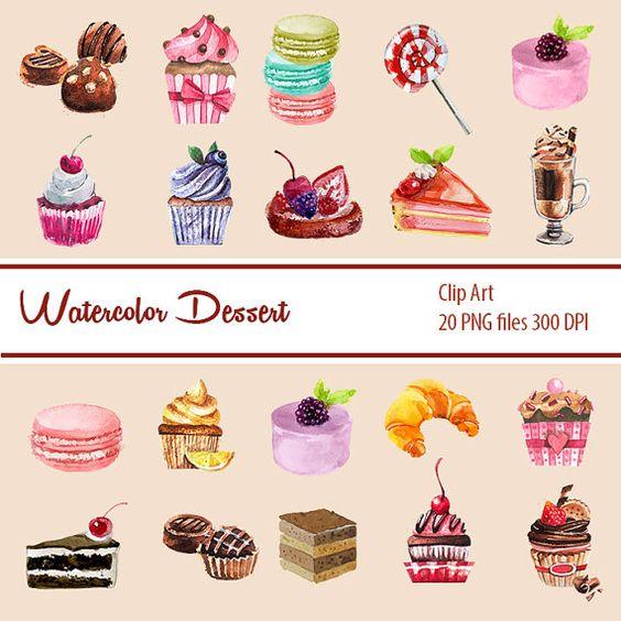 Watercolor Cupcake Clipart, Chocolate CLIPART, Valentine Digital.