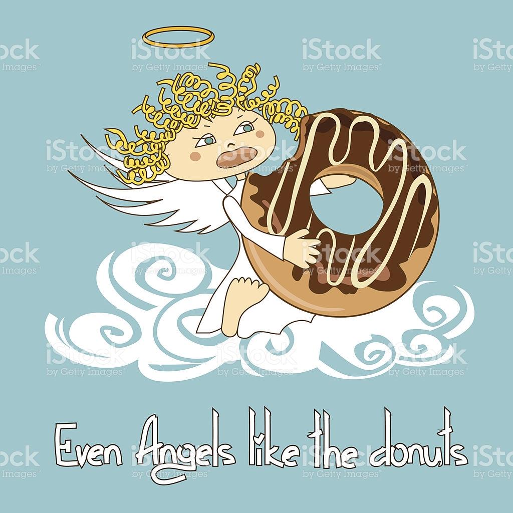 Angel Eating Big Donut stock vector art 185931133.