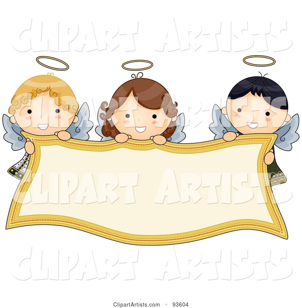 Cute Angel Girls Holding A Blank Banner Clipart by BNP.