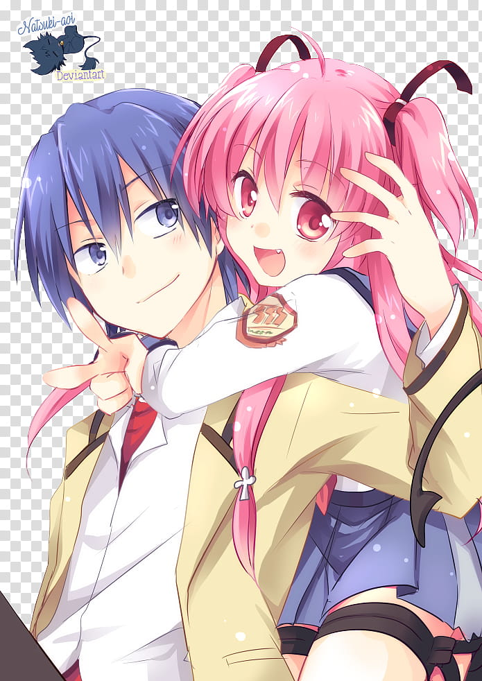 Hinata y Yui Angel Beats transparent background PNG clipart.