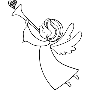 Angel Blowing Horn Coloring Page.