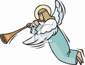 Clip Art Image: An Angel Blowing a Horn.