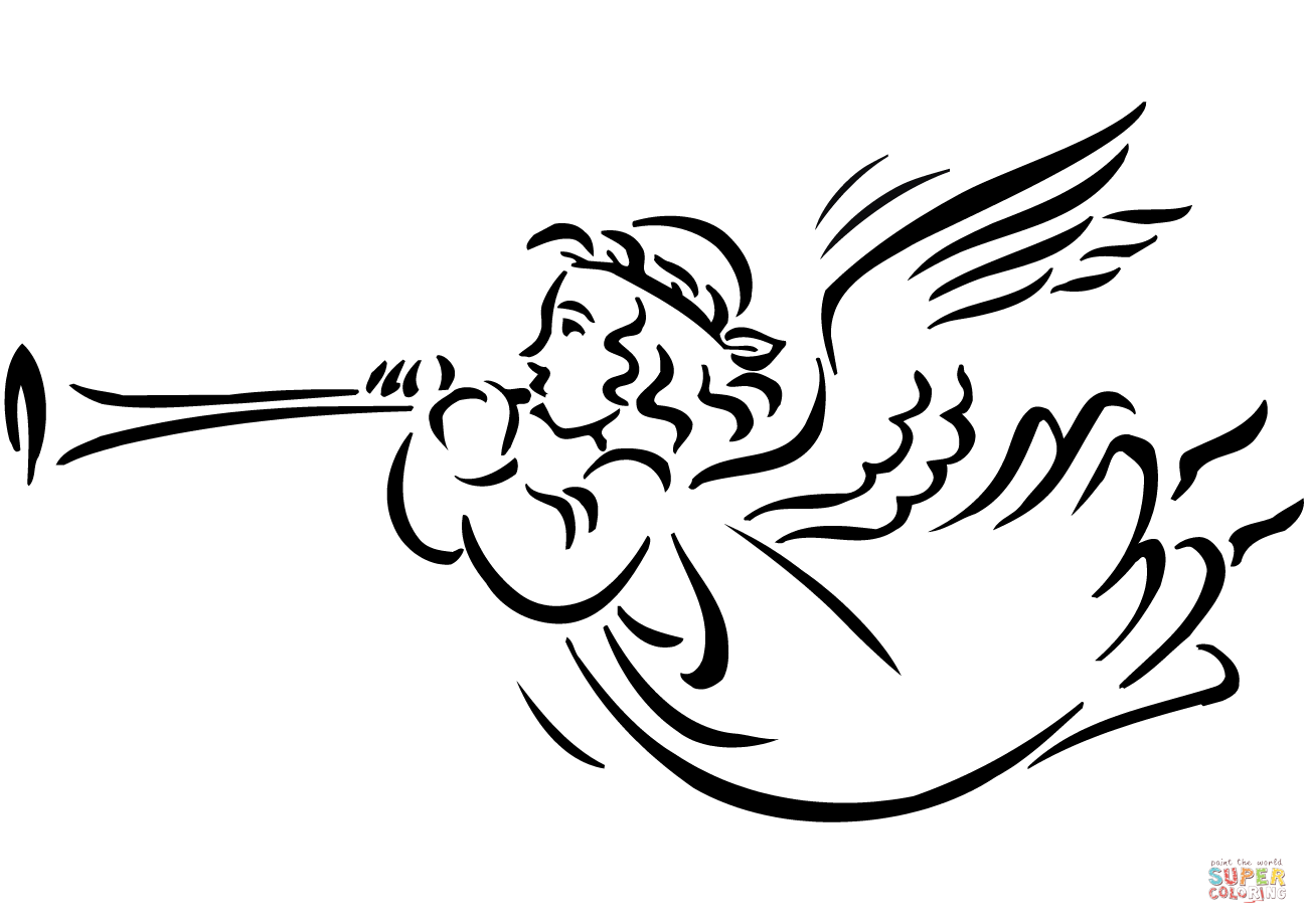 Christmas Angel Blowing Horn coloring page.