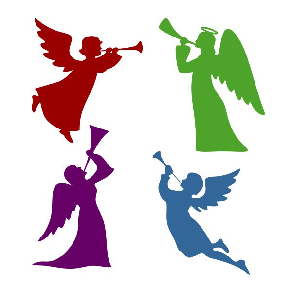 Angel Blowing Trumpet Silhouette.
