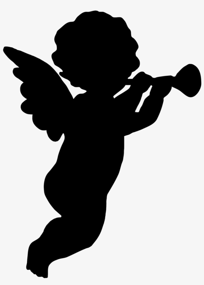 Trumpet Blowing Cherub Png, Angel Silhouette Clipart.