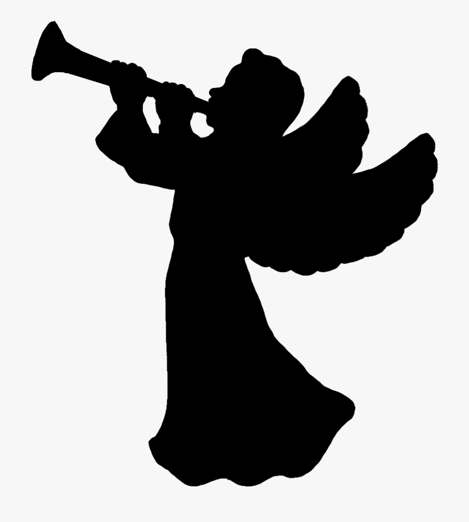 Angel With Trumpet Silhouette At Getdrawings Com.