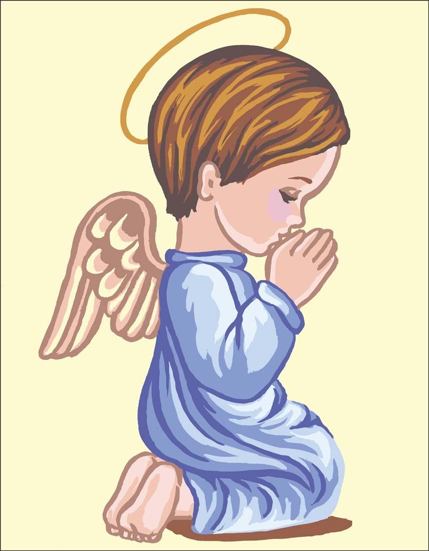 Angel Boy Praying Canvas only By Grafitec.