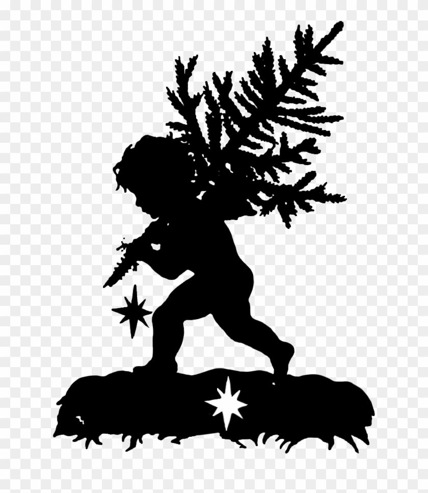 Silhouette Of Angel Carrying A Christmas Tree, HD Png.