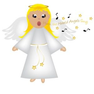 Free Angel Clip Art Image: Christmas Angel Singing.