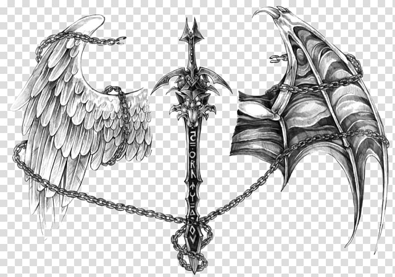 Gray wings with chain illustration, Angel Devil Tattoo Demon.