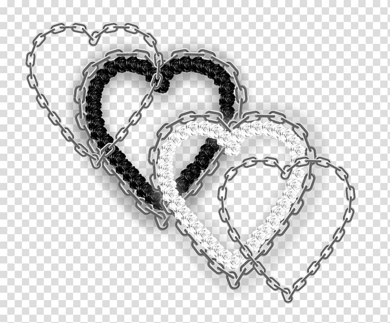 Jewellery Chain Bracelet Necklace, Angel Hearts transparent.