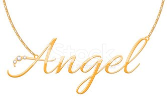 Golden Word Angel Pendant on File Contains Chain Stock.