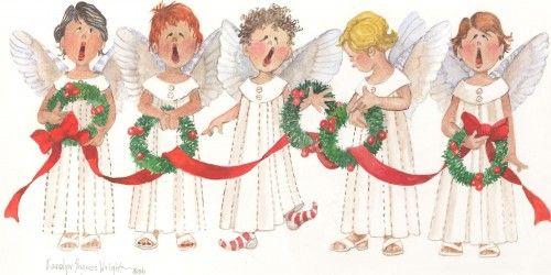 Cherub Choir with Wreaths 9x13 watercolor.