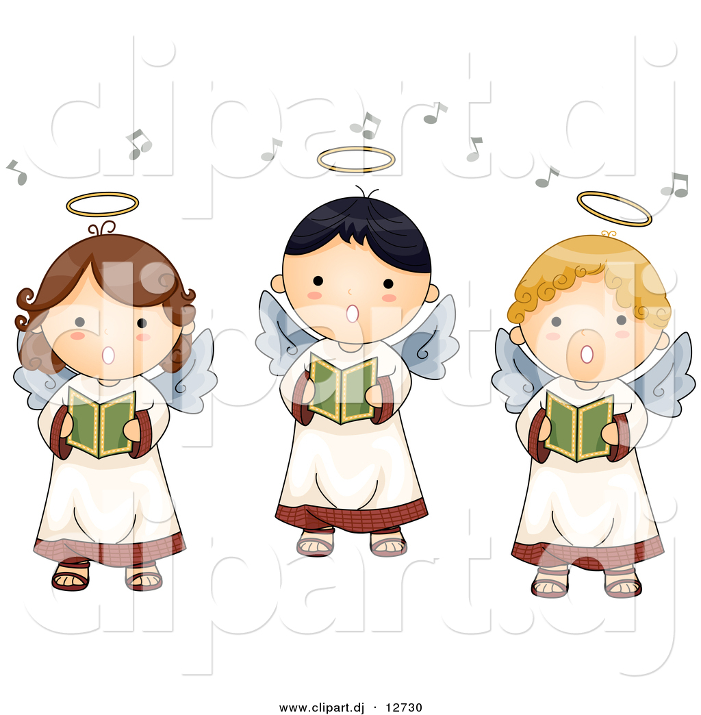 Vector Clipart of 3 Cartoon Singing Angel Boys and Girls by.