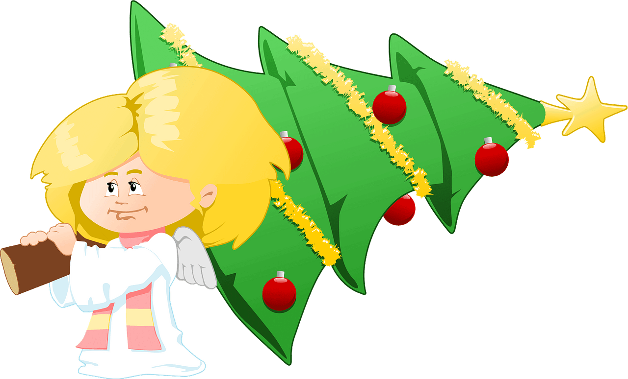 Cute angel with Christmas tree clipart. Free download.