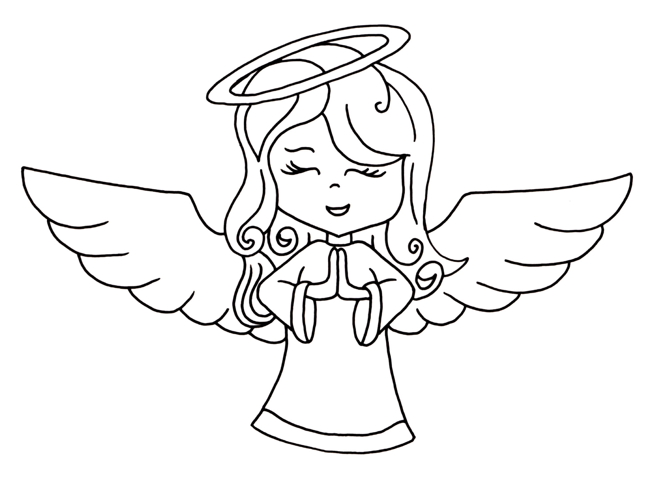 Angel clipart black and white Lovely Angel Line Drawing Clip Art 54.