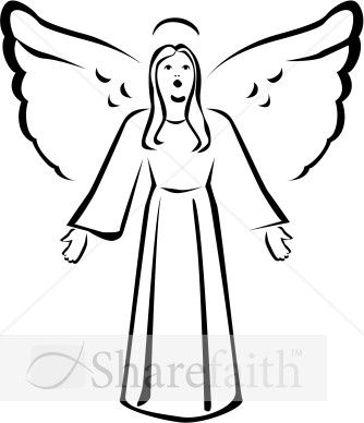 Black and White Singing Angel Clipart.