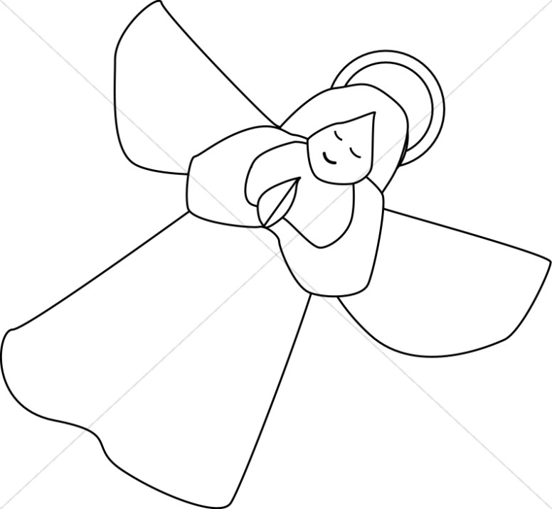 Outline of Angel Clipart.