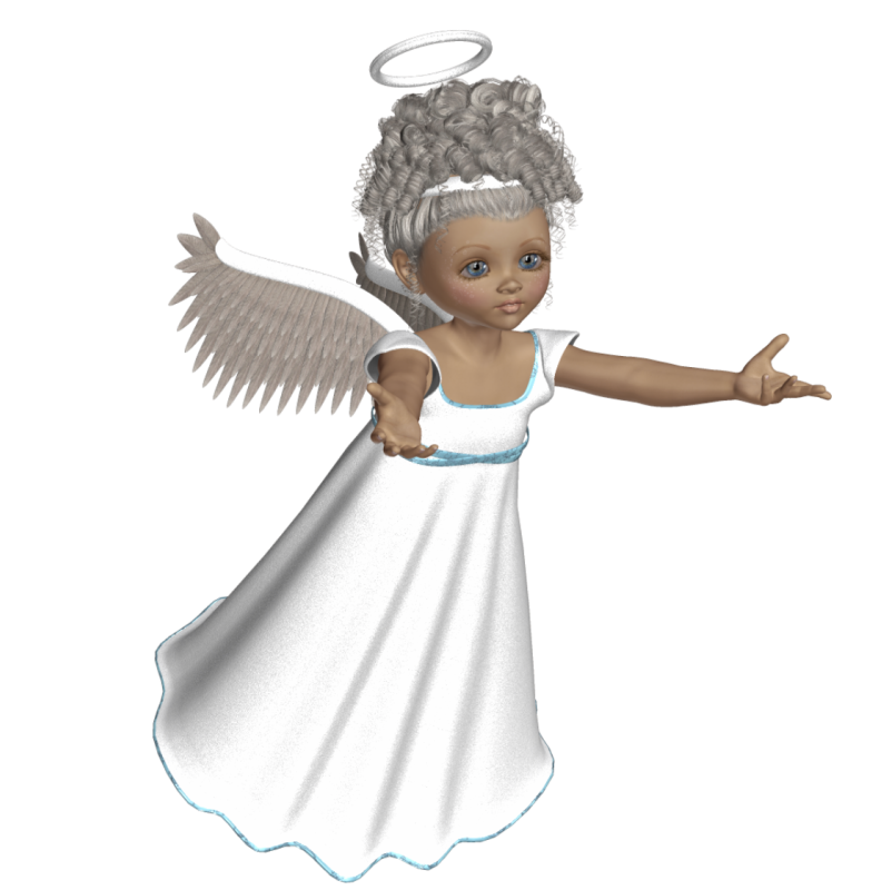 Cute 3D Angel with White Dress PNG Picture.