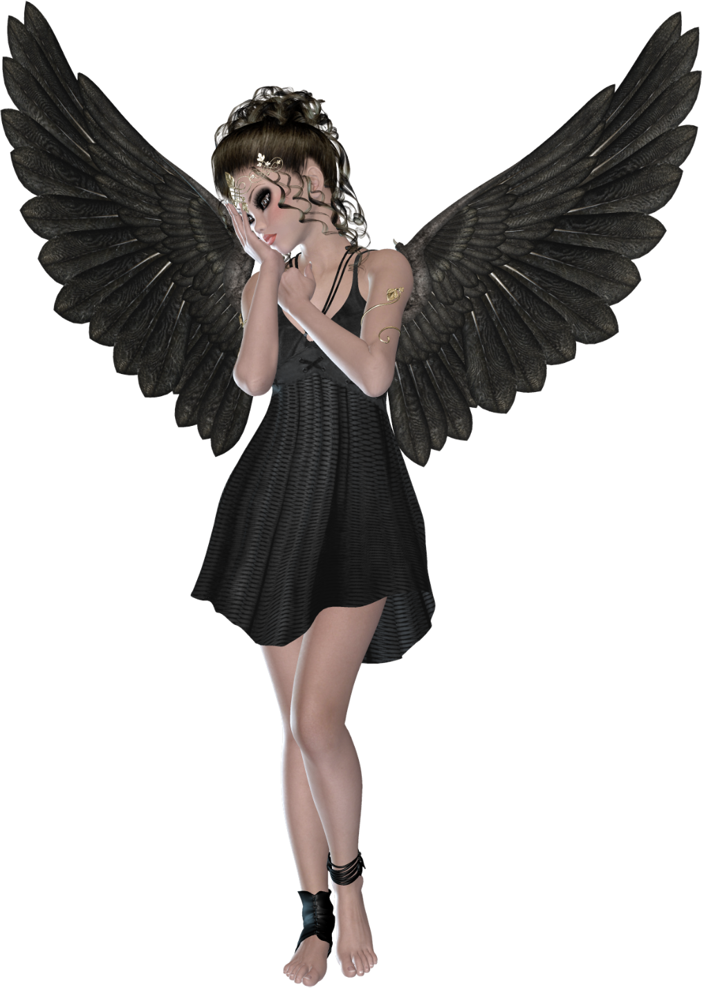 Beautiful Black 3D Angel.