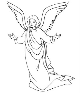 Christmas angels colouring pictures and clip art image.