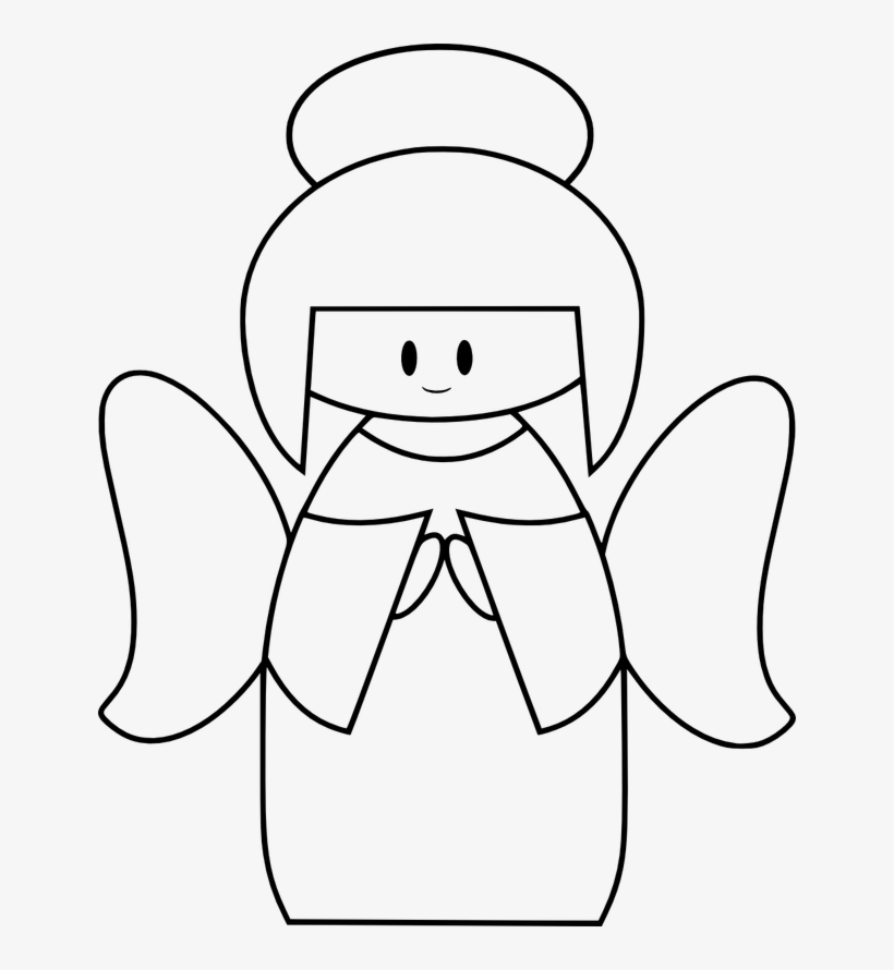 Vector Freeuse Stock Angel Clipart Black And White.