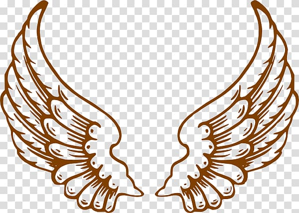 Two brown wings illustration, Drawing Angel , Golden Angel.