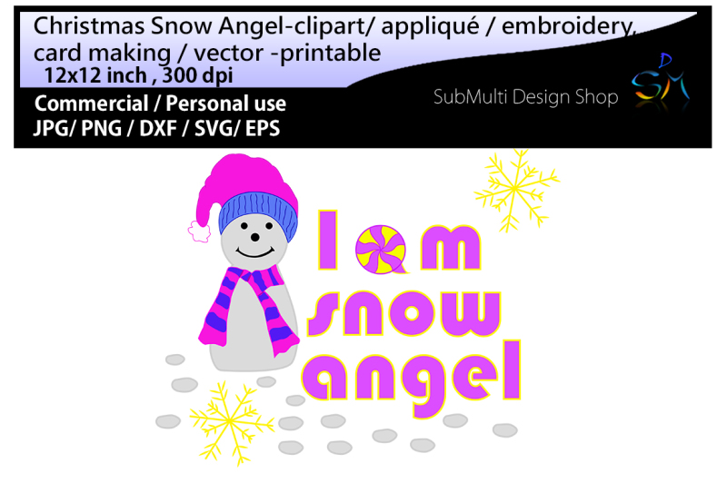 snow angel Clip art / embroidery.