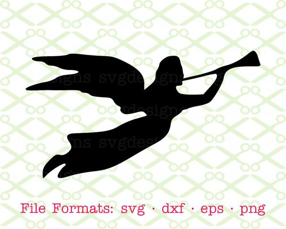 Angel SVG, Dxf, Eps & Png. Digital Cut Files for Cricut, Silhouette; Flying  Angel with Trumpet Svg, Angel Silhouette, Angel Christmas Svg.