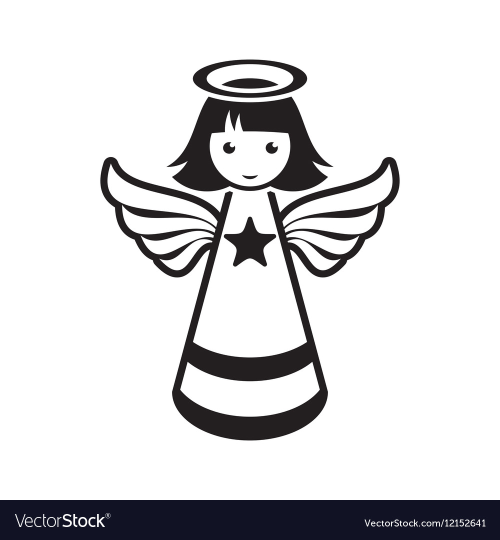 Simple black christmas angel icon.