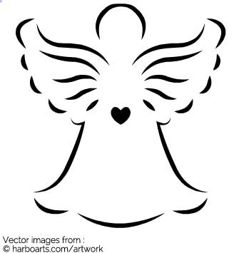 Angel Outline Clipart.
