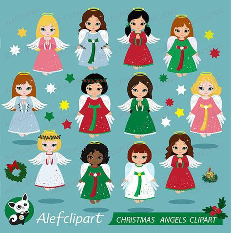 Christmas Angels Clipart , Angel Clipart, Christmas Clipart.