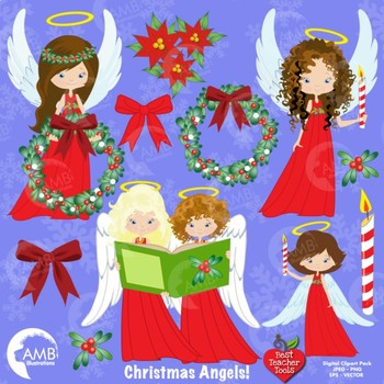 Christmas Angel clipart, Angels in Red Clipart, Wreaths, Bows, AMB.