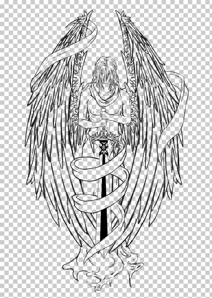 Tattoo Angel Sword Drawing New school, angel PNG clipart.